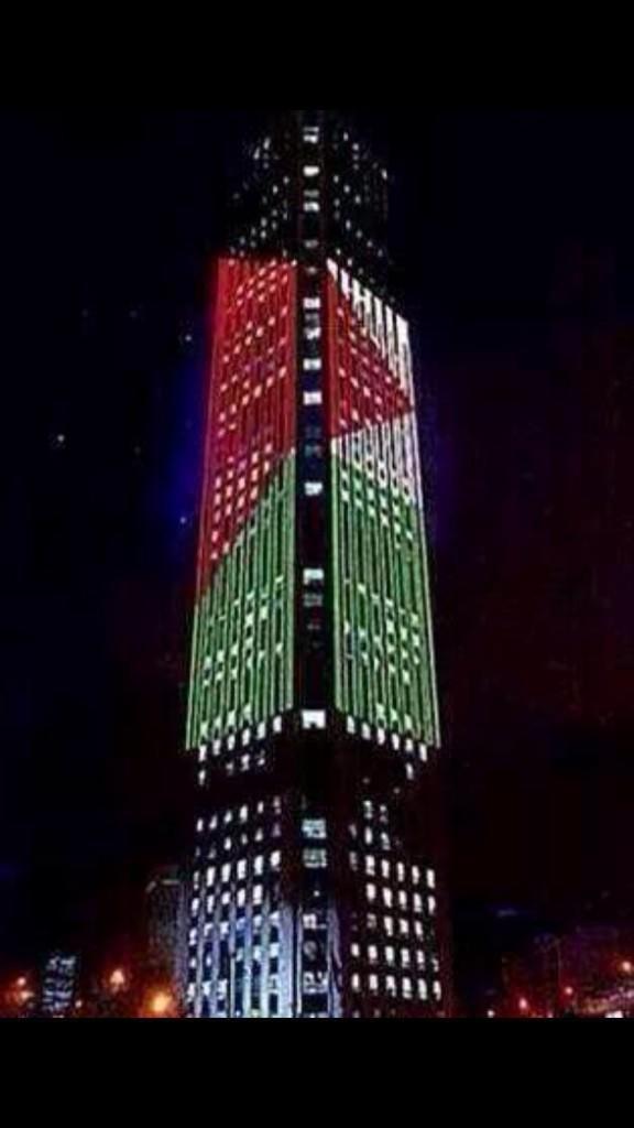 علم #فلسطين يلف أطول بناية في بوغوتا-كولومبيا. #غزة_تحت_القصف