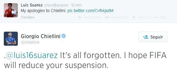 #تشلليني يرد على اعتذار #سواريز ويتمنى له ان الفيفا تخفف العقوبة #WorldCup2014 #كأس_العالم