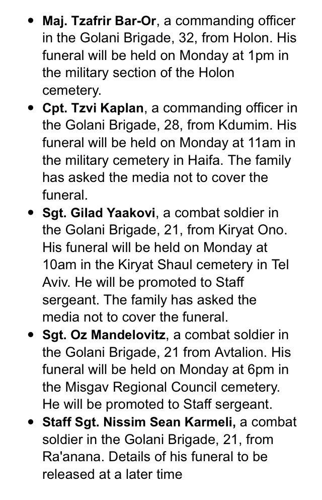 قائمة مسربه بأسماء بعض قتلى الجيش الإسرائيلي يوم الأمس #غزة_تحت_القصف