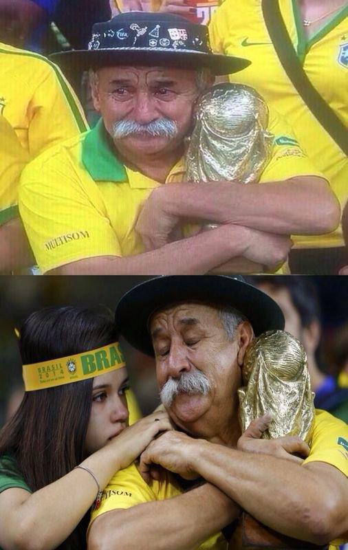 صورة مؤثرة ﻷحد مشجعي البرازيل بعد الهزيمة الساحقة في #كأس_العالم