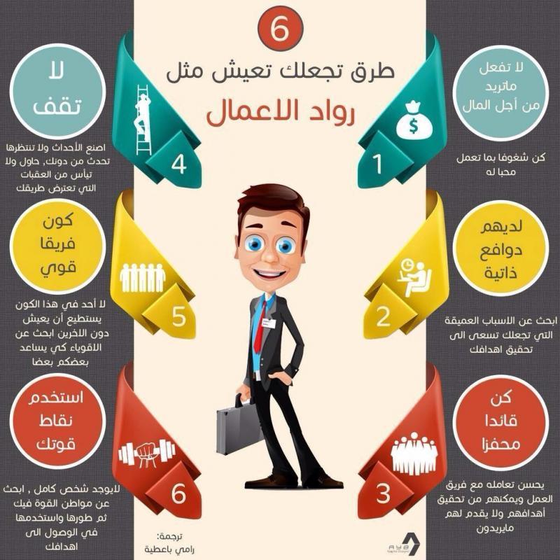 ٦ طرق تجعلك تعيش مثل رواد الأعمال #انفوجرافيك