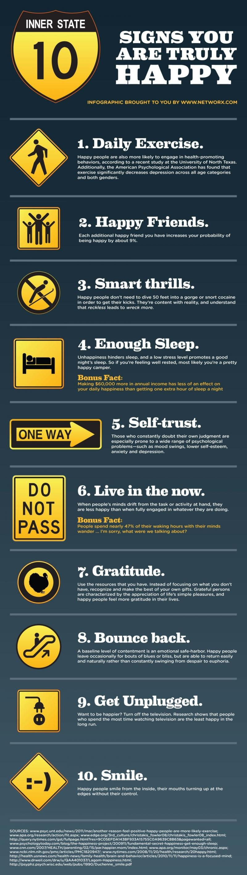 Ten Signs You Are Truly HAPPY #Infographic