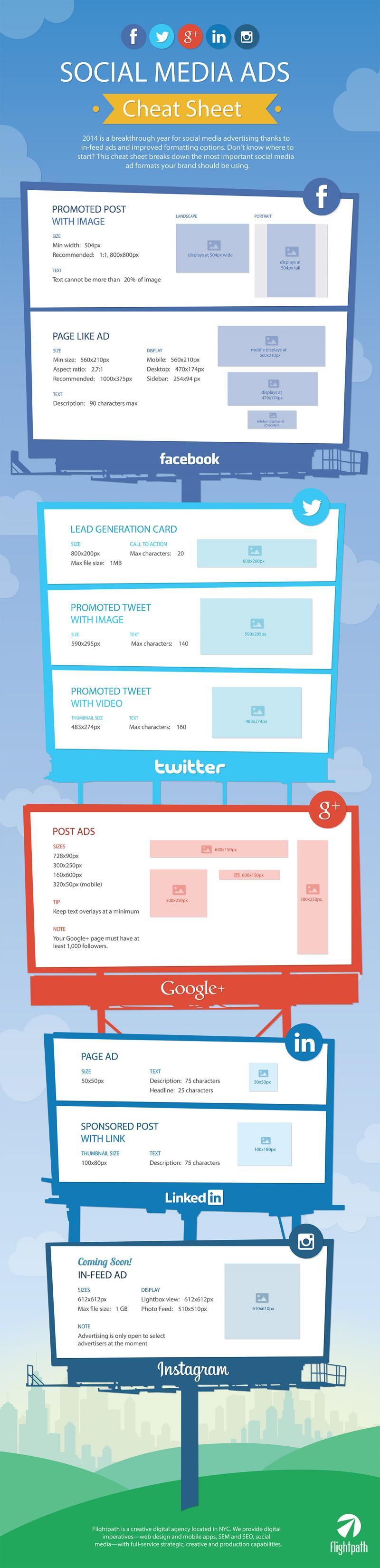 Social Media Ads Cheat Sheet: Image Sizes for Facebook, Twitter, Instagram & More #Infographics