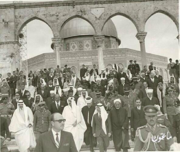 صورة للتاريخ الملك حسين والملك فيصل في القدس