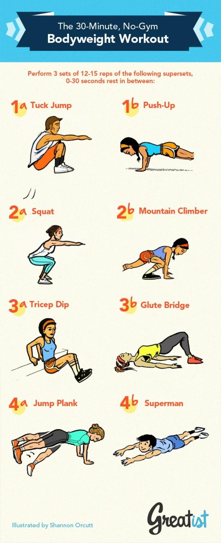 The 30-Minute, No-Gym Bodyweight Workout #infographic
