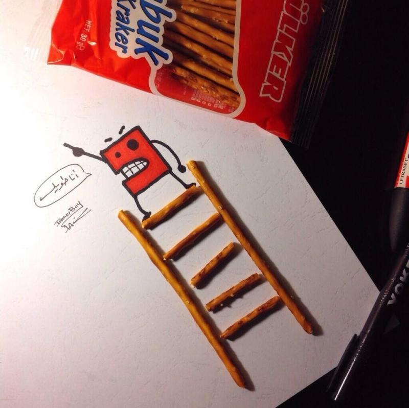 صورة لشاب يبدع في دمج رسوماته ببعض الحلويات، ليخرج بلوحات أكثر واقعية - 1
