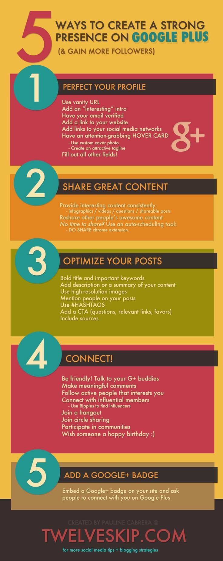 5 Ways to create strong presence on Google Plus #infographic