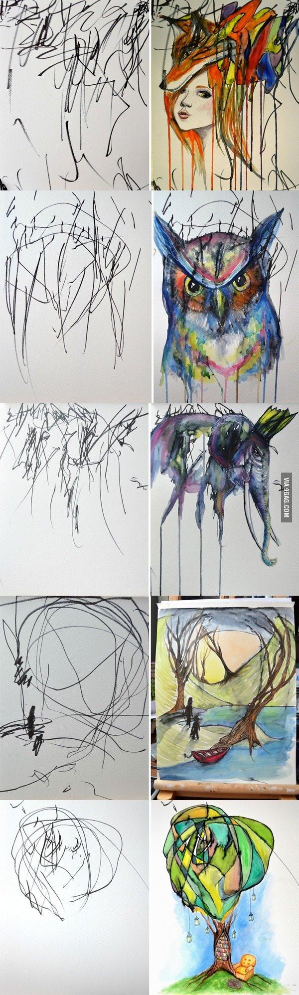 رسام يحول - خربشات - ابنته الى لوحات فنية