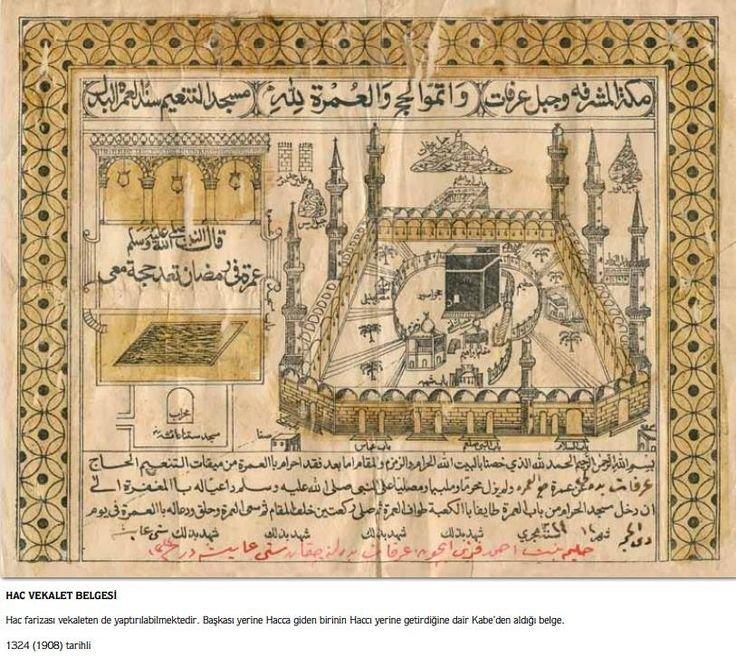 شهادة حج عثمانية، من قبل الوكيل في مكة، 1908 م
