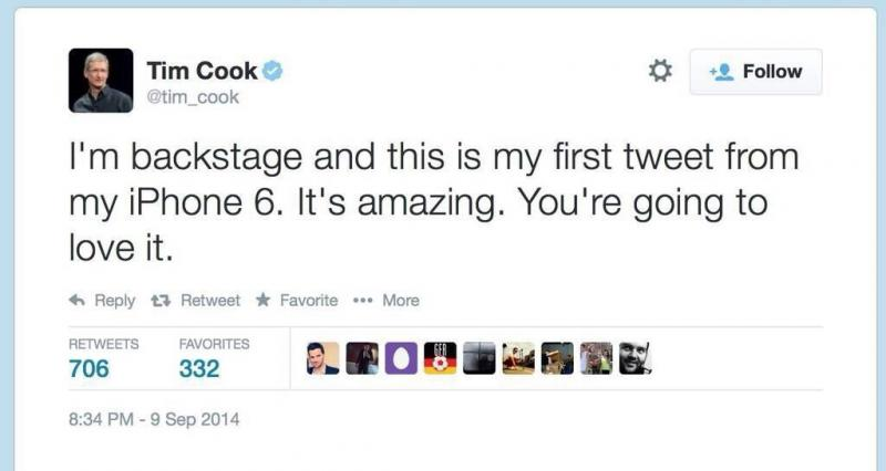 Tim Cook @tim_cook first tweet from #IPhone6 #Apple