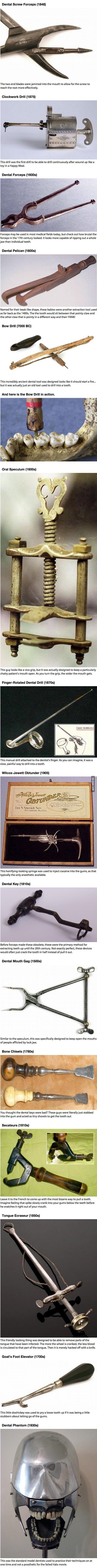 أدوات طبيب الأسنان في الماضي