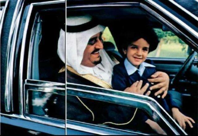 صورة الملك فهد رحمه الله و الامير عبدالعزيز بن فهد التقطت عام 1980