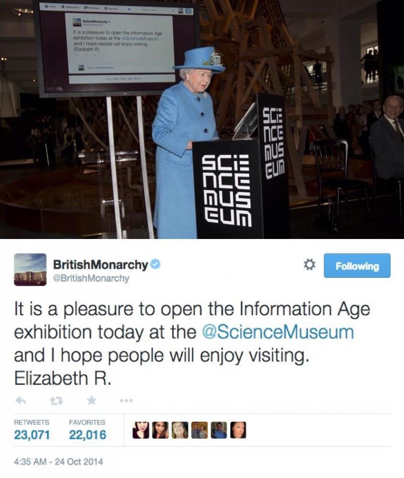 أول تغريدة لملكة بريطانيا اليزابيث علی #تويتر