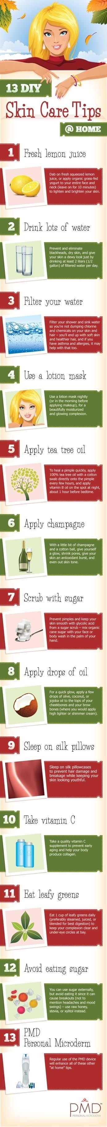 13 DIY Skin Care Tips @ Home #infographic
