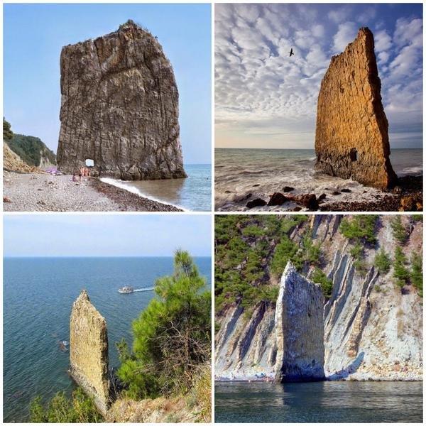 صخرة تشبه شراع السفينة تقف وحيدة على شاطئ البحر الأسود في كراسنودار في #روسيا