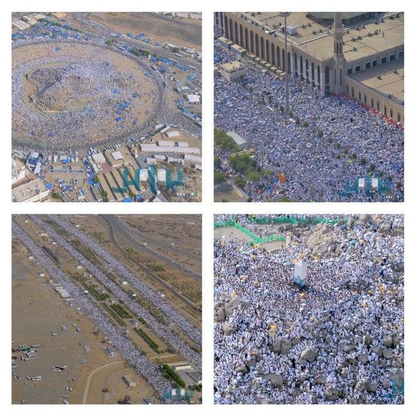 """#صور جوية لتدفق الحجيج على صعيد #عرفات \""""اللهم تقبل من الحجاج حجهم ، وردهم لديارهم سالمين\"""" #الحج #عيد_الأضحى"""
