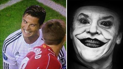 صورة طريفة#رونالدو وابتسامة الثقة في وجه جيرارد !! #ريال_مدريد #ريال_مدريد_برشلونة #دوري_ابطال_اوروبا