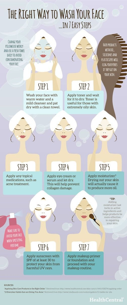 The right way to wash your face in 7 easy steps #infographic