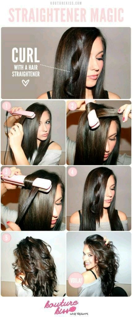 طريقة تجعيد الشعر بمملس الشعر بالصور #تسريحات
