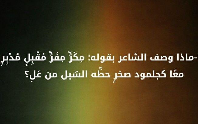 ماذا وصف الشاعر بقوله: مكر مفر مقبل مدبر معا كجلمود صخر حطه السيل من عل؟ #لغز