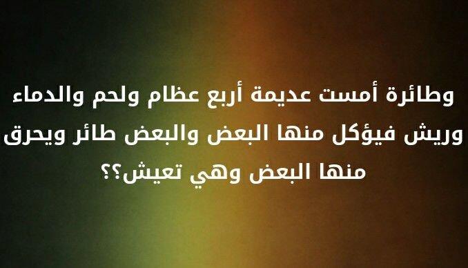 و طائرة أمست عديمة أربع عظام و لحم و الدماء و ريش فيؤكل منها البعض و البعض طائر و يحرق منها البعض و هي تعيش #لغز