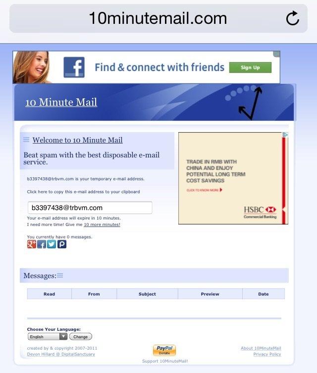موقع 10minutemail.com يسمح لك بعمل ايميل مؤقت يلتغي بعد عشر دقائق لغايات استلام بريد التسجيل من المواقع الأخرى