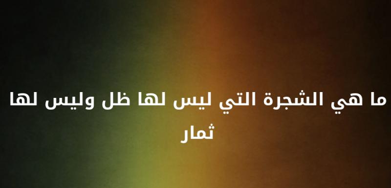 ما هي الشجرة التي ليس لها ظل وليس لها ثمار #لغز