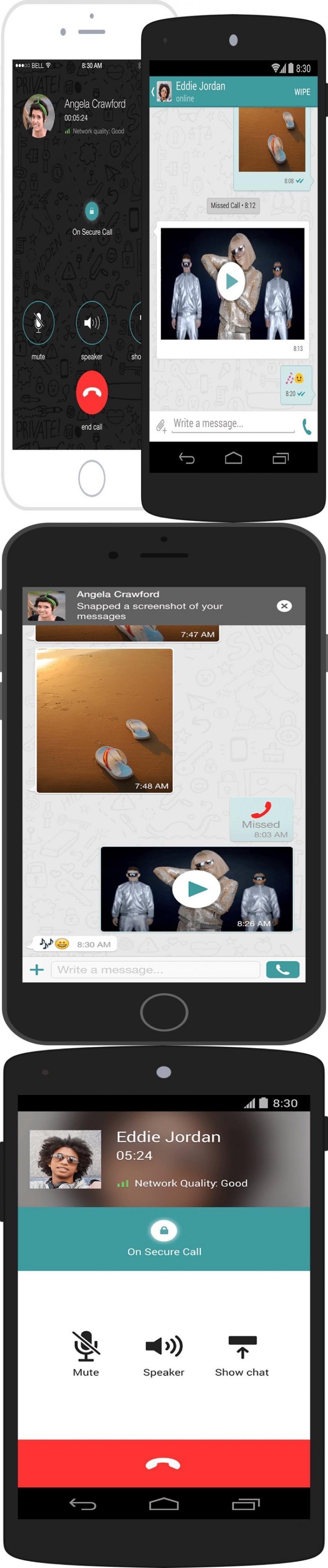 تطبيق جديد باسم Wiper يسمح للمستخدم حذف مراسلاته من جهاز المستقبل ويبلغه ان تم تصوير الشاشة من قبل المستلم