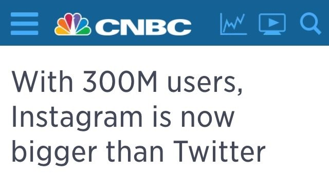 One hour ago #Instagram is officially bigger than #Twitter