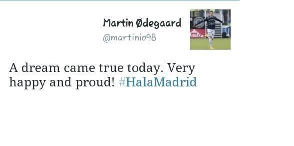 لوافد المدريدي الجديد و في أول تغريدة له بعد الإنتقال للملكي أوديغارد #ريال_مدريد