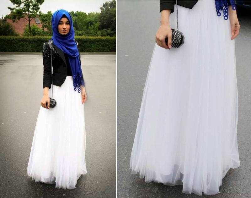 تنورة بيضاء طويلة وواسعة - صور ملابس #محجبات #فساتين