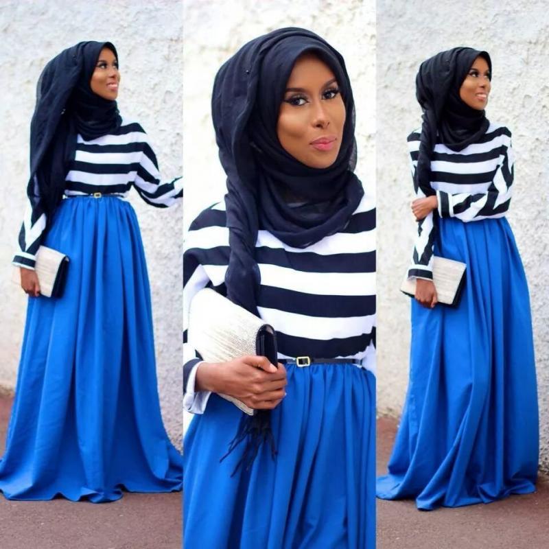 تنورة زرقاء طويلة - صور ملابس #محجبات #فساتين