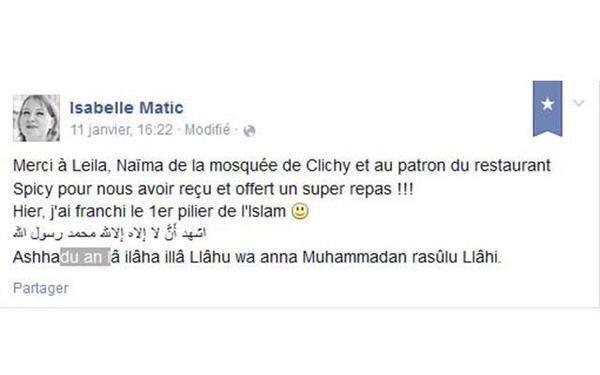 """المخرجة الفرنسية #إزابيل_ماتيك تـشهر إسلامها وتعلن ذلك عبر #فيسبوك بعد الهجوم على """" #شارلي_ايبدو"""