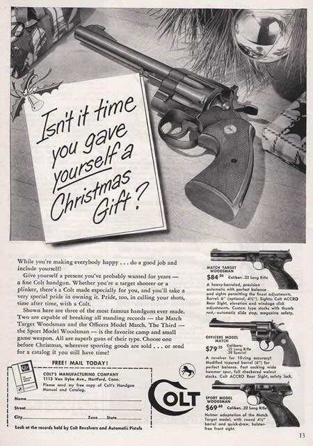 #اعلان من عام ١٩٥٣ لمسدس كولت #تسويق