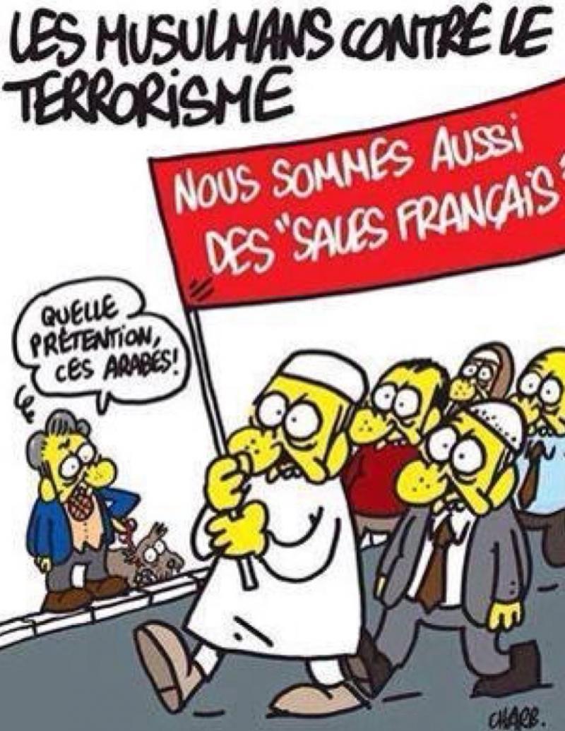 صحيفةً شارلي ايبدو تطلق كاريكاتيرا جديدا للاستهزاء بالمسلمين الذين شاركوا ب#مسيرة_باريس