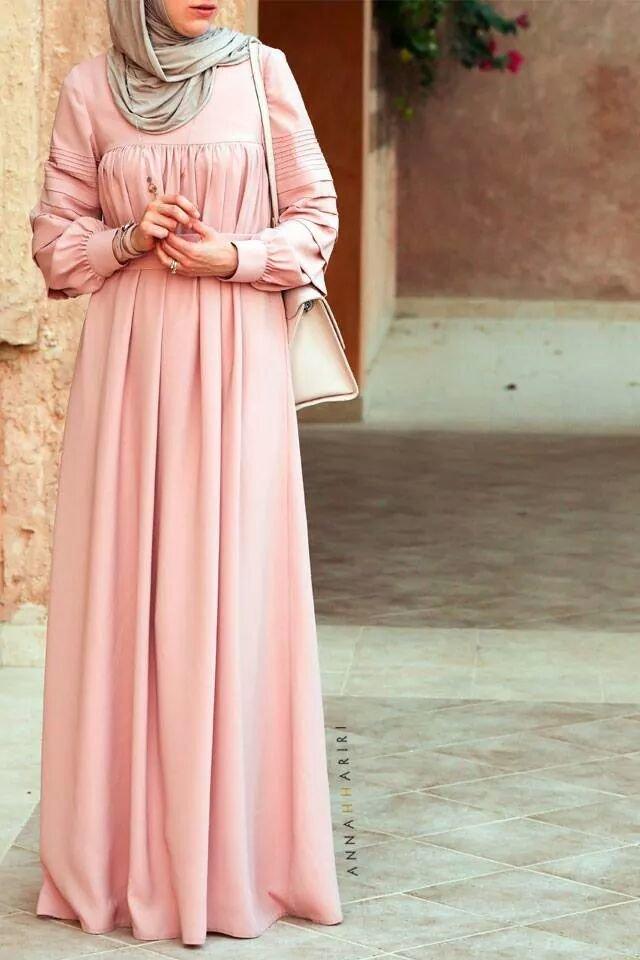 فستان وردي طويل 2 - صور ملابس #محجبات #فساتين