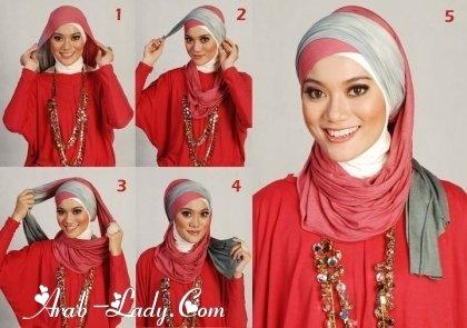 #ازياء #محجبات خطوات لف الحجاب بأكثر من شكل صوره رقم 11