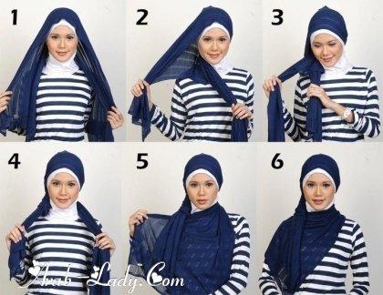 #ازياء #محجبات خطوات  لف الحجاب بأكثر من شكل صوره رقم 3