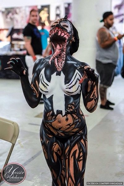 Body paint...her mouth is the neck
