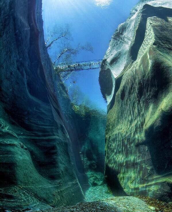 #نهر_فيرزاسكا في سويسرا أنقى وأصفى أنهار العالم سبحان الخالق فهو نهر بنقاء و شفافية #الكريستال ويمكن رؤية قاعة 15متر !! صوره رقم 1