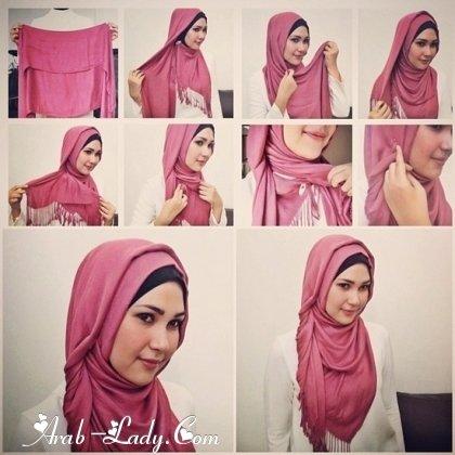 #ازياء #محجبات خطوات  لف الحجاب بأكثر من شكل صوره رقم 4