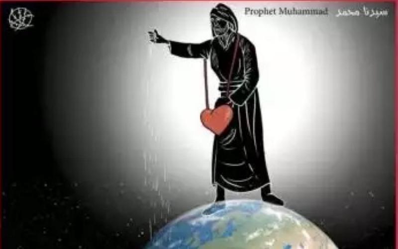 كاريكاتير صحيفة الحياة الجديدة الذي يصور سيدنا محمد