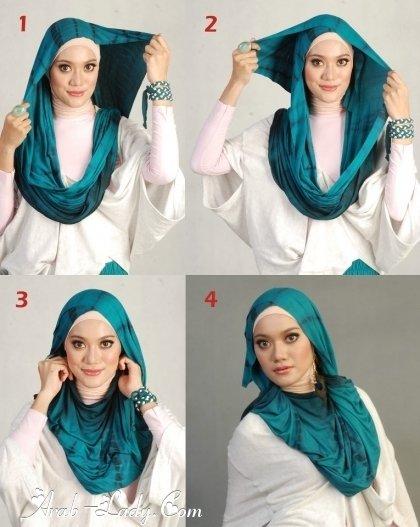 #ازياء #محجبات خطوات لف الحجاب بأكثر من شكل صوره رقم 10