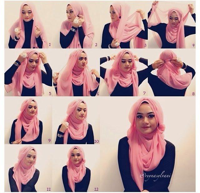 بالصور خطوات لف الحجاب بأكثر من شكل صوره رقم 14 #الحجاب