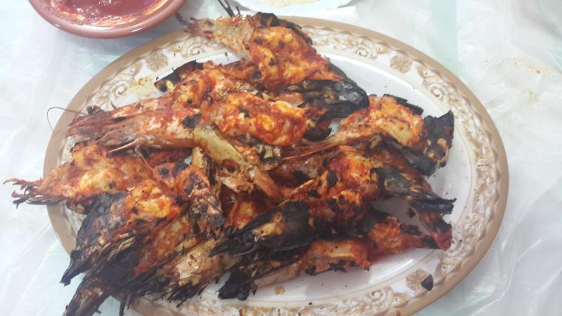 روبيان مشوي - مطعم الصياد البحري - ميناء زايد #أبوظبي