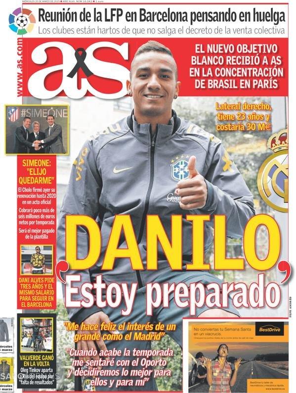 غلاف الاس دانيلو أنا سعيد جدا بإهتمام الأندية الكبيرة مثل #ريال_مدريد بالتعاقد معي #كوره