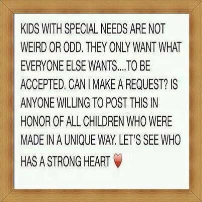 Special needs kids want to be accepted only