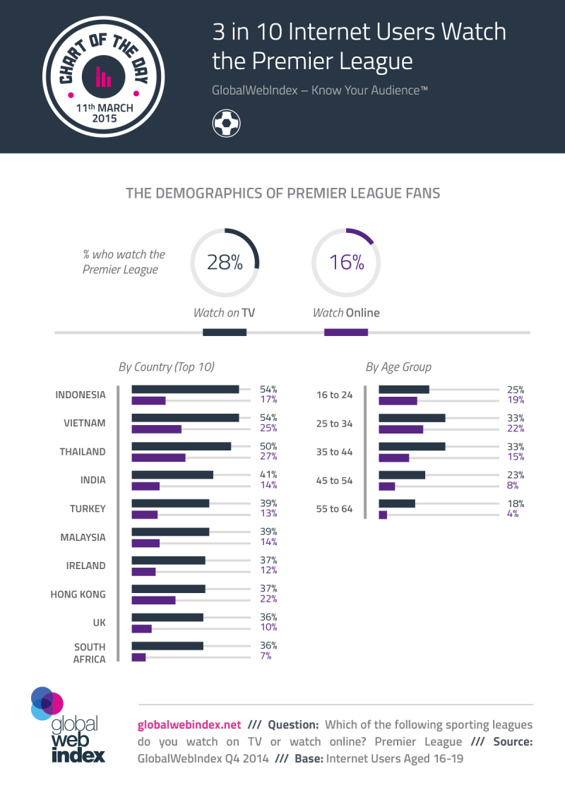 Three in 10 Internet Users Watch the Premier League #infographic #premiereleague