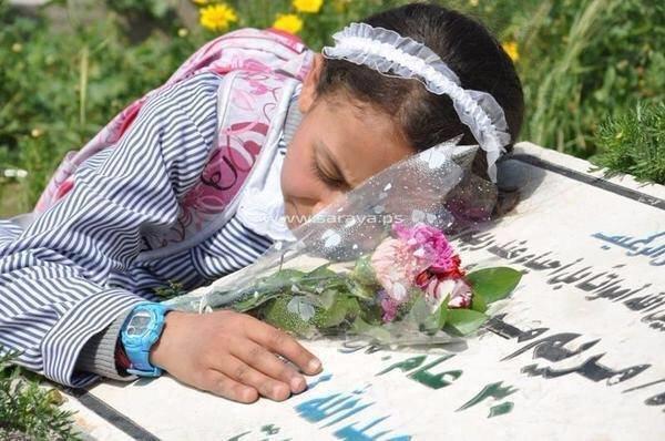 صورة مؤثرة للطفلة الفلسطينية ألاء أبو زيد ترتمي فوق قبر أمها وأشقائها الـ 9 الذين استشهدوا بعد قصف منزلهم في #غرة #فلسطين