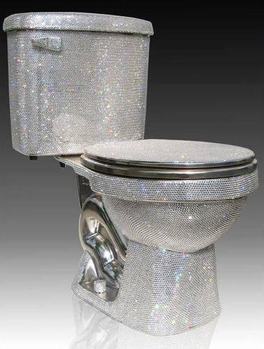 Toilet made with 72,000 pieces of Swarovski cut crystal